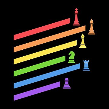 Rainbow Chess Pieces Boardgames Nerd by pixeptional