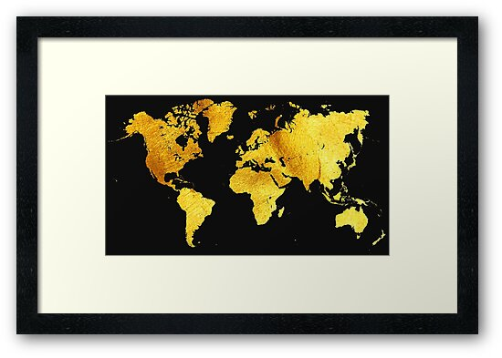 Black And Gold Map Of The World World Map For Your Walls Framed