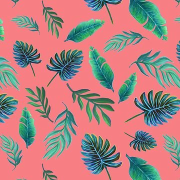 Coral Palm Leaves art in watercolor by MagentaRose