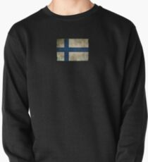 Old and Worn Distressed Vintage Flag of Finland Pullover
