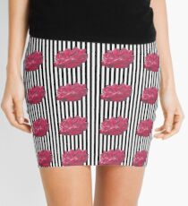 Red Rose On Stripes Mini Skirt