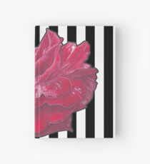 Red Rose On Stripes Hardcover Journal