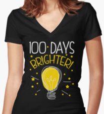 cdf2acf08 Camiseta entallada de cuello en V 100 días de escuela camiseta linda