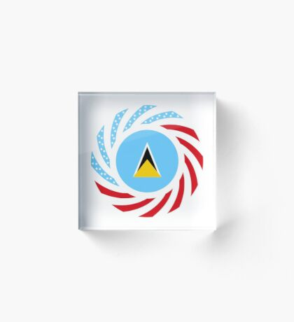 Saint Lucian American Multinational Patriot Flag Series Acrylic Block