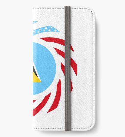 Saint Lucian American Multinational Patriot Flag Series iPhone Wallet