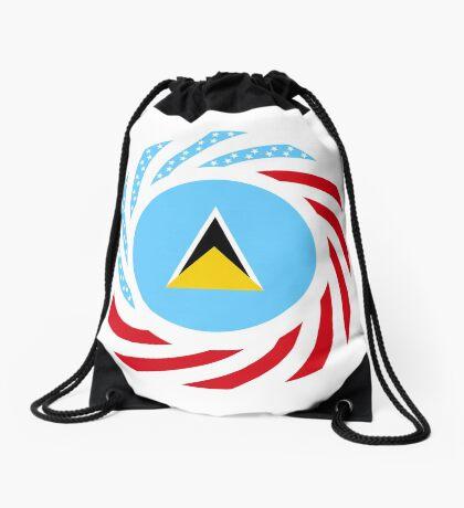 Saint Lucian American Multinational Patriot Flag Series Drawstring Bag