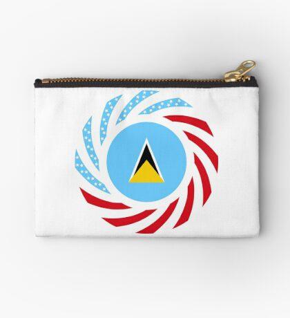 Saint Lucian American Multinational Patriot Flag Series Zipper Pouch