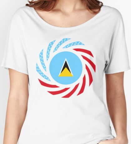 Saint Lucian American Multinational Patriot Flag Series Relaxed Fit T-Shirt