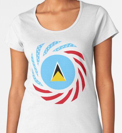 Saint Lucian American Multinational Patriot Flag Series Premium Scoop T-Shirt