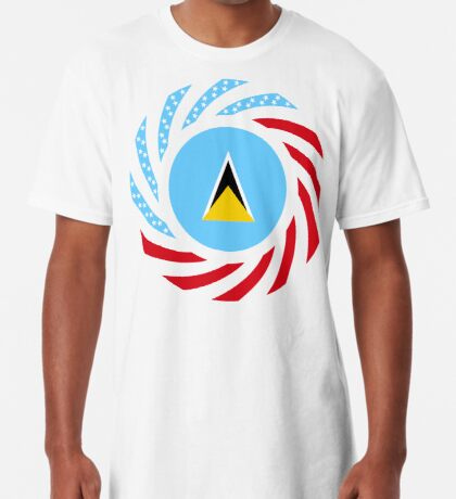 Saint Lucian American Multinational Patriot Flag Series Long T-Shirt