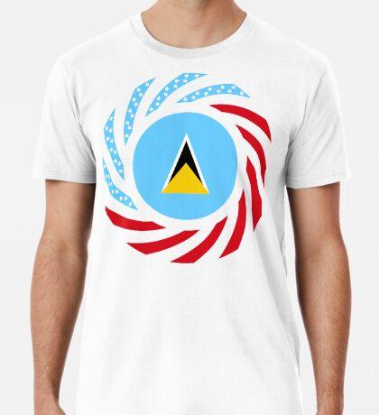 Saint Lucian American Multinational Patriot Flag Series Premium T-Shirt