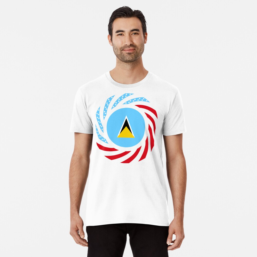 Saint Lucian American Multinational Patriot Flag Series Premium T-Shirt