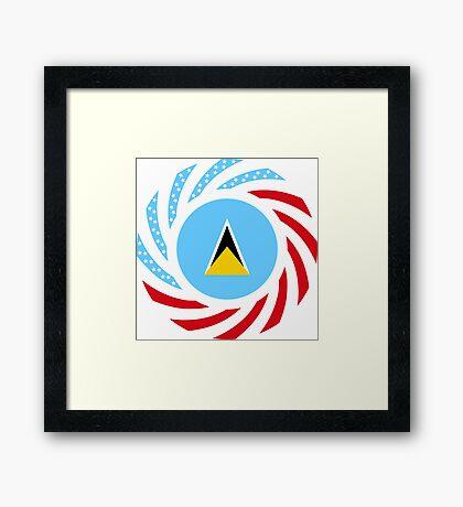 Saint Lucian American Multinational Patriot Flag Series Framed Print