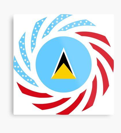 Saint Lucian American Multinational Patriot Flag Series Metal Print