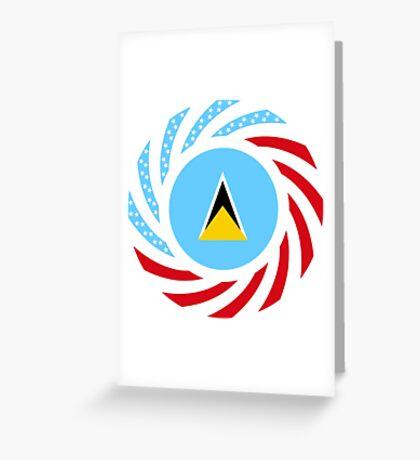 Saint Lucian American Multinational Patriot Flag Series Greeting Card