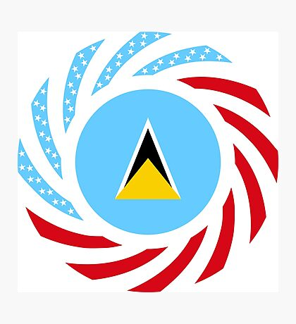 Saint Lucian American Multinational Patriot Flag Series Photographic Print