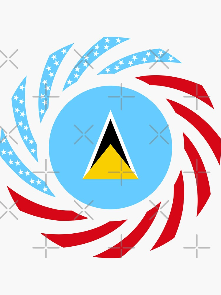 Saint Lucian American Multinational Patriot Flag Series by carbonfibreme