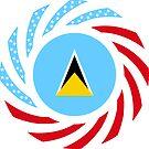 Saint Lucian American Multinational Patriot Flag Series by Carbon-Fibre Media