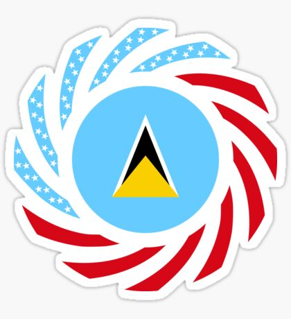Saint Lucian American Multinational Patriot Flag Series Sticker