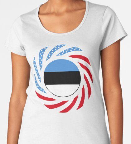 Estonian American Multinational Patriot Flag Series Premium Scoop T-Shirt