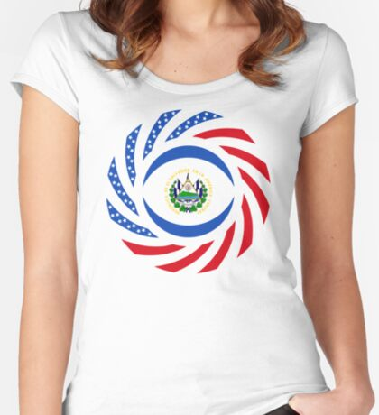 Salvadoran American Multinational Patriot Flag Series Fitted Scoop T-Shirt