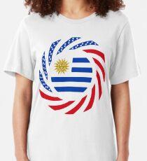 Uruguayan American Multinational Patriot Flag Series Slim Fit T-Shirt