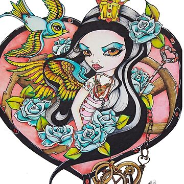 Playing With The Queen of Hearts - Rockabilly Tattoo Style Art by ckdesigns