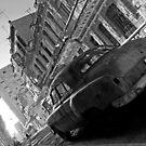 Havana Street scene, black & white by David Carton