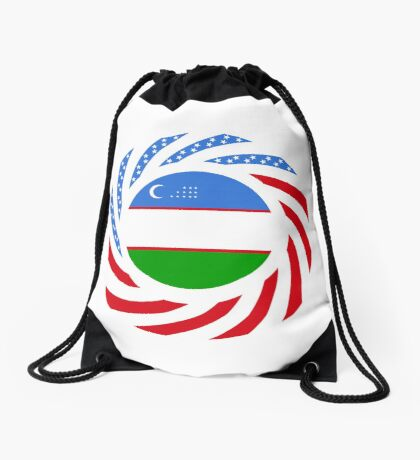 Uzbekistani American Multinational Patriot Flag Series Drawstring Bag