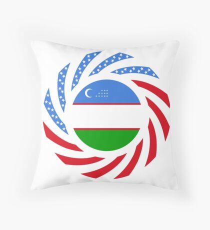 Uzbekistani American Multinational Patriot Flag Series Throw Pillow