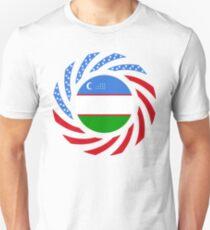 Uzbekistani American Multinational Patriot Flag Series Slim Fit T-Shirt