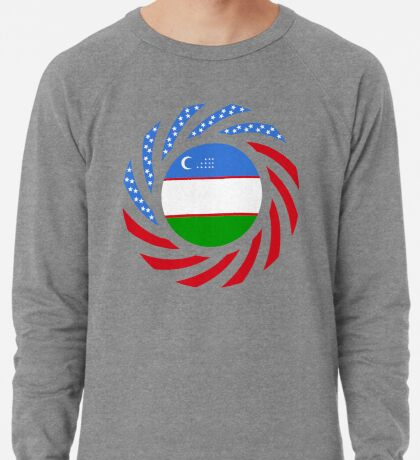 Uzbekistani American Multinational Patriot Flag Series Lightweight Sweatshirt