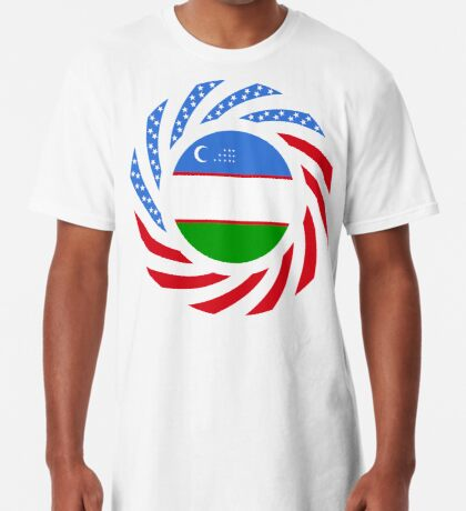 Uzbekistani American Multinational Patriot Flag Series Long T-Shirt