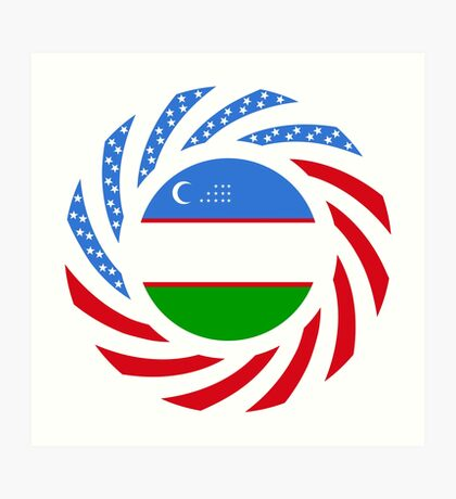 Uzbekistani American Multinational Patriot Flag Series Art Print