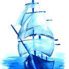 Tall Blue Ship by RavensLanding