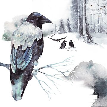 Cryptical Crows In The Whispering Winter Woods by BunnyThePainter