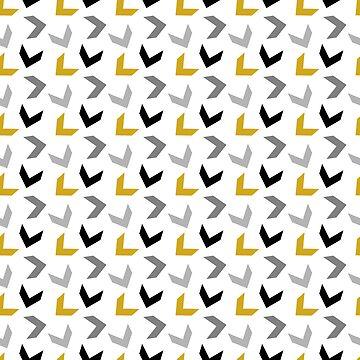 Random Arrows in Mustard Yellow, Black and Grays by MelFischer