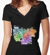 Watercolor Indominus Rex (Black) Women's Fitted V-Neck T-Shirt