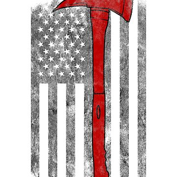 Red Axe American Flag Thin Red Line Firefighter Shirt by we1000