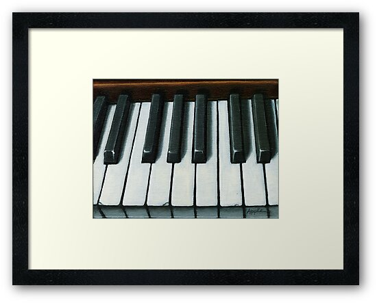 Tinkling of the Keys - still life oil painting - piano by LindaAppleArt