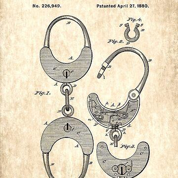 Handcuff Patent  - Circa 1880 by marlenewatson