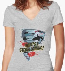 Shark Tornado - Shark Cult Movie - Shark Attack - Shark Tornado Horror Movie Parody - Storm's Coming! Women's Fitted V-Neck T-Shirt