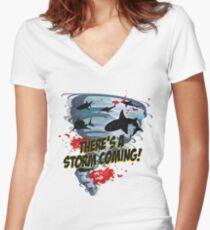 Shark Tornado - Shark Cult Movie - Shark Attack - Shark Tornado Horror Movie Parody - Storm's Coming! Women's Fitted V-Neck T-Shirt
