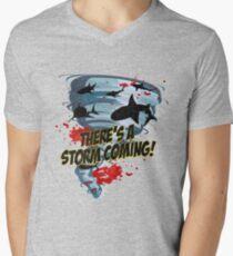 Shark Tornado - Shark Cult Movie - Shark Attack - Shark Tornado Horror Movie Parody - Storm's Coming! Men's V-Neck T-Shirt