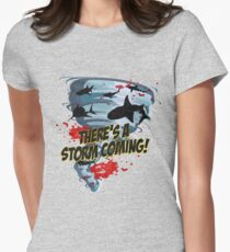 Shark Tornado - Shark Cult Movie - Shark Attack - Shark Tornado Horror Movie Parody - Storm's Coming! Women's Fitted T-Shirt