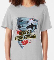 Shark Tornado - Shark Cult Movie - Shark Attack - Shark Tornado Horror Movie Parody - Storm's Coming! Slim Fit T-Shirt