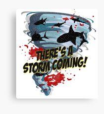 Shark Tornado - Shark Cult Movie - Shark Attack - Shark Tornado Horror Movie Parody - Storm's Coming! Canvas Print