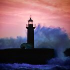 Faso lighthouse, Portugal at sunset by Julie Teague