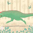 Carnotaurus cavorting in the Cretaceous by Richard Morden