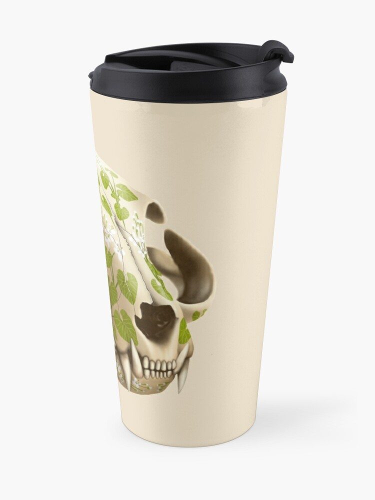 Alternate view of cat skull decorated with wasabi flowers Travel Mug